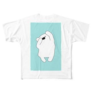 隠しきれない三猿しろくま Full graphic T-shirts