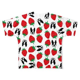 いちごちゃんボストンテリア フルグラフィックTシャツ