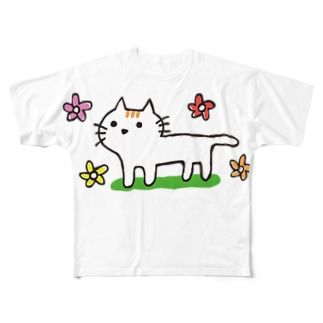 花とネコちゃん Full graphic T-shirts