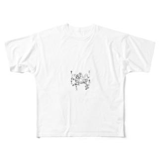 コミット眉ちゃん Full graphic T-shirts