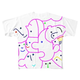 friends(colorful line) Full graphic T-shirts