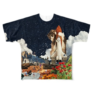 シャトル猫【夜の部】 Full graphic T-shirts