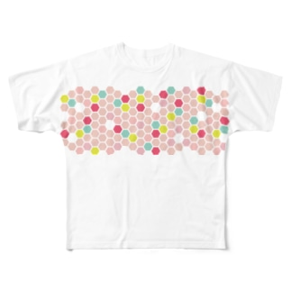 pink honeycomb Full graphic T-shirts
