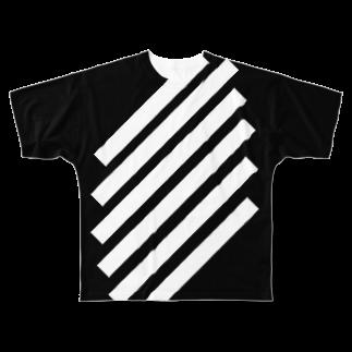 whaisonのSlashBlackStripes Full graphic T-shirts