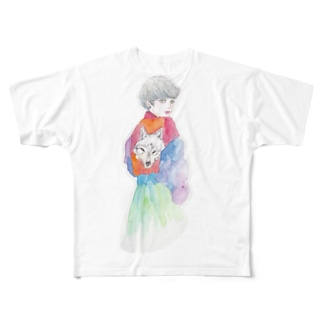オオカミ少女 Full graphic T-shirts
