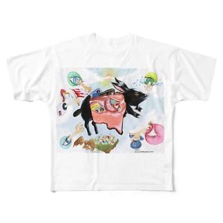 内臓ウサギ フルグラフィックTシャツ