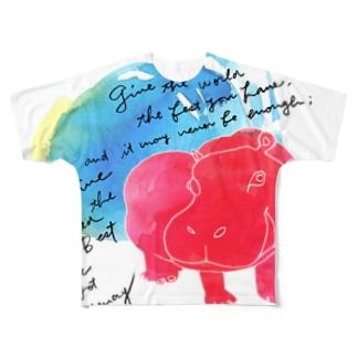 赤いカバ Full graphic T-shirts