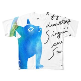 青いねこ フルグラフィックTシャツ