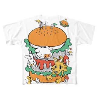 ハンバーガー フルグラフィックTシャツ