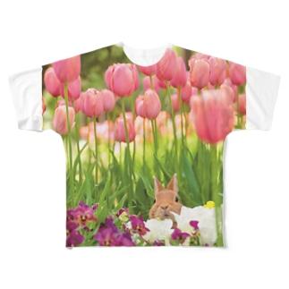 チューリップうさぎさん Full graphic T-shirts