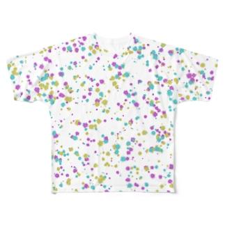 Random Paint01(White) Full graphic T-shirts