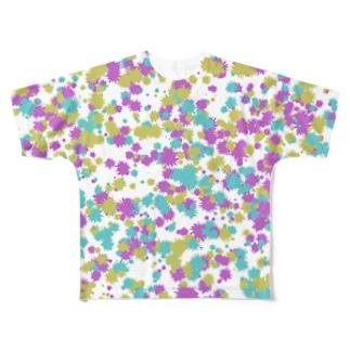 Random Paint02(White) Full graphic T-shirts
