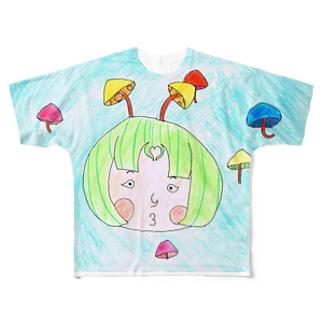 きのこは世界を救う フルグラフィックTシャツ