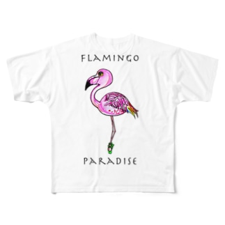 Flamingo Paradise フルグラフィックTシャツ