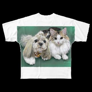 kinako-japanのチャチャちゃんとすももさん Full graphic T-shirts