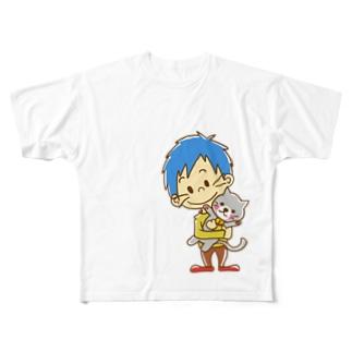 ネコを抱く男の子 Full graphic T-shirts