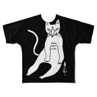 megumiillustrationのしろねこペロリフルグラフィックTシャツ