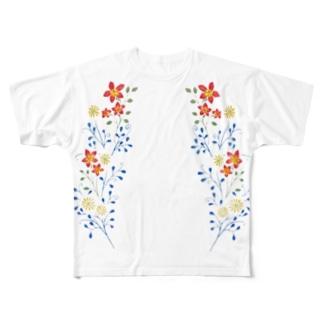 Flower print フルグラフィックTシャツ
