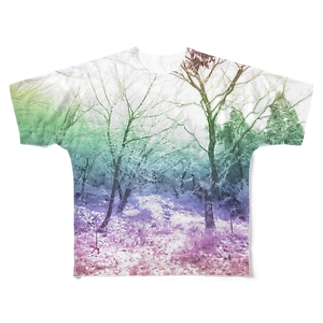 Colorful Photo(Snow Forest) Full graphic T-shirts