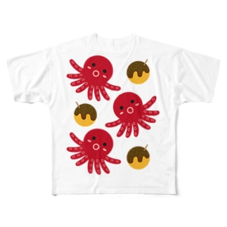 タコ&たこ焼き Full graphic T-shirts