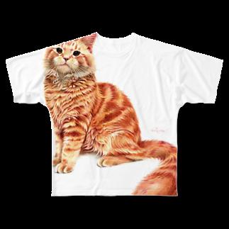 Miwa Kasumiのオレンジねこ 〜メインクーン〜 Full graphic T-shirts
