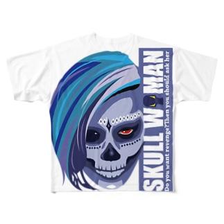 Skull woman(縦組) Full graphic T-shirts