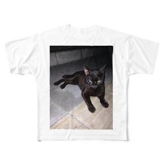 ノラ猫でござる フルグラフィックTシャツ