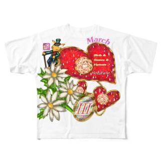 「花籠」Series * Birth03 March Full graphic T-shirts