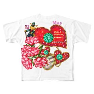 「花籠」Series * Birth05 May Full graphic T-shirts