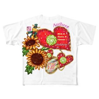「花籠」Series * Birth08 August Full graphic T-shirts