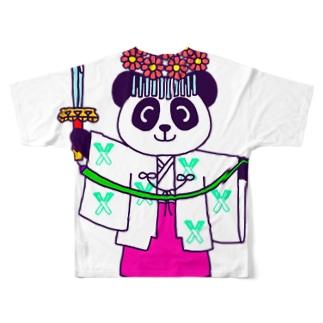 パンダ巫女 舞姿 フルグラフィックTシャツ