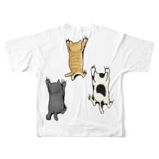 バックプリントver. 登ってくるネコたち Full Graphic T-Shirt