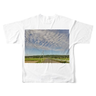 田んぼ道 Full graphic T-shirts