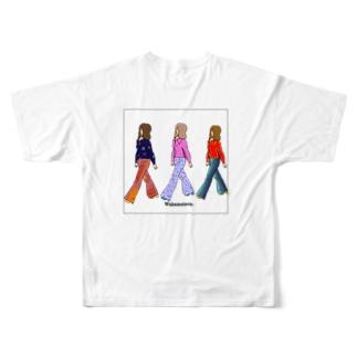 レトロガール 黒枠 Full graphic T-shirts