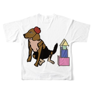 犬と積み木 Full graphic T-shirts