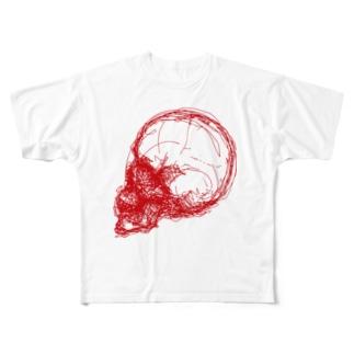 ドクロ 赤 Full graphic T-shirts