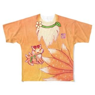 ❀花狐庵❀「お狐風!?」 Full graphic T-shirts