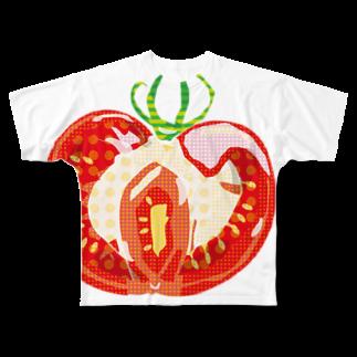 とりごえ雑貨店の水玉トマト Full graphic T-shirts