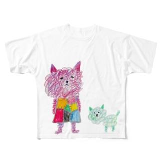 グシャグシャとモジャモジャ Full graphic T-shirts