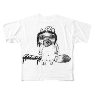 妻の描いたピアノダヌキ Full graphic T-shirts