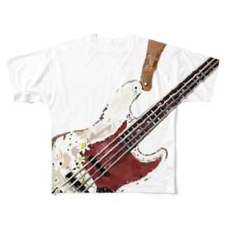neuf -ヌフ-のOld Jazz Bass Full graphic T-shirts