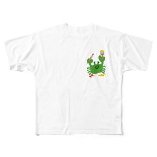 絵を描くカニ Full graphic T-shirts