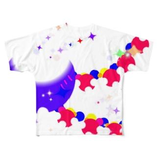 キラキラ輝く不思議な形 Full graphic T-shirts
