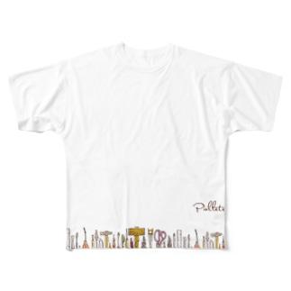 Pallete&Labo屋号オリジナルグッズ 横形 Full graphic T-shirts