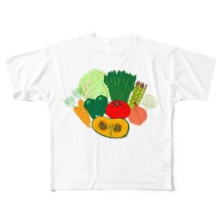 野菜大好きなひと専用デザイン「野菜大集合」 Full graphic T-shirts