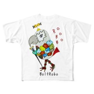 ねこぜや の ROBOBO ヨウムのボルトロボ  Full graphic T-shirts