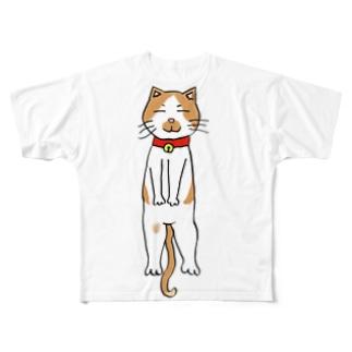 ねこさんシリーズ2 あおむけ寝猫 Full graphic T-shirts