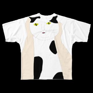 高い高い猫 フルグラフィックTシャツ