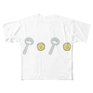 王冠ちゃんと栓抜きちゃん Full graphic T-shirts