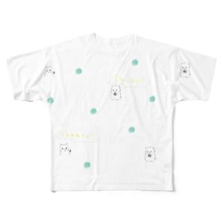 ひまわりの種、ひまわりと言えば夏。夏を楽しむゆるはむ Full graphic T-shirts